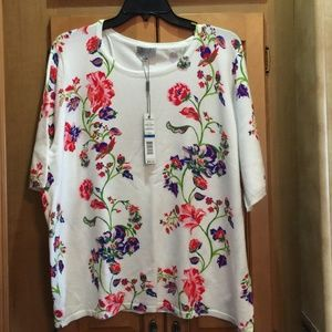 Joseph A. Floral Knit Pullover Sweater
